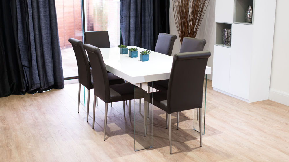 Contemporary Brown and White Dining Set