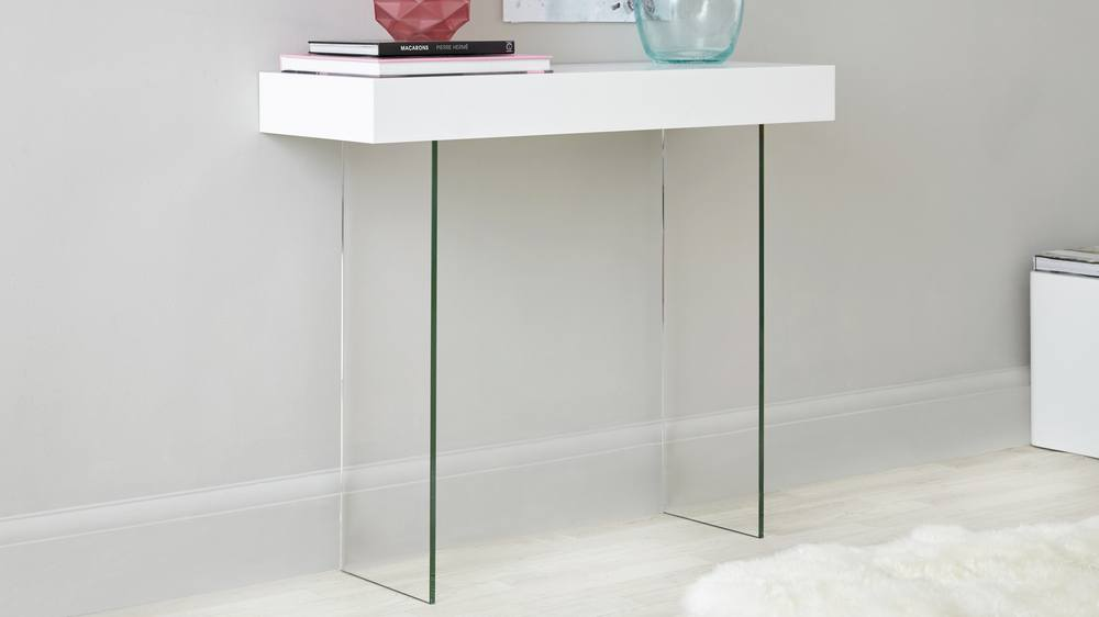 White Oak Veneer and Glass Leg Modern Console Table