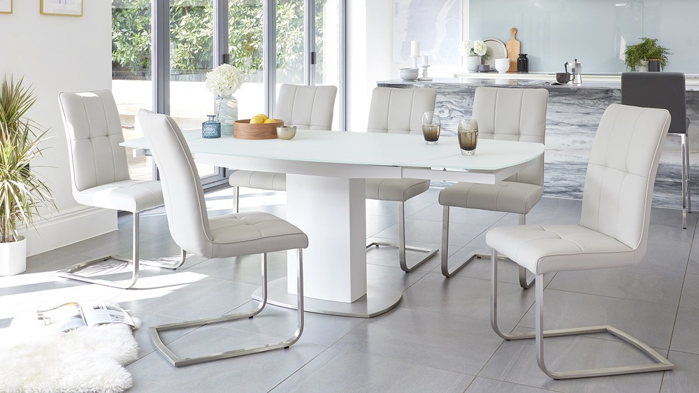 white glass extending dining table