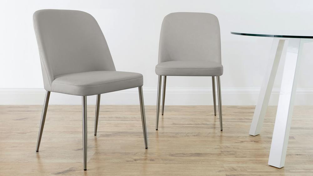 light grey leather chairs