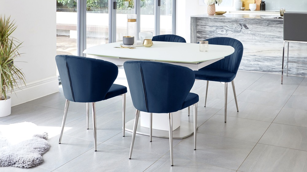 harper blue dining chairs