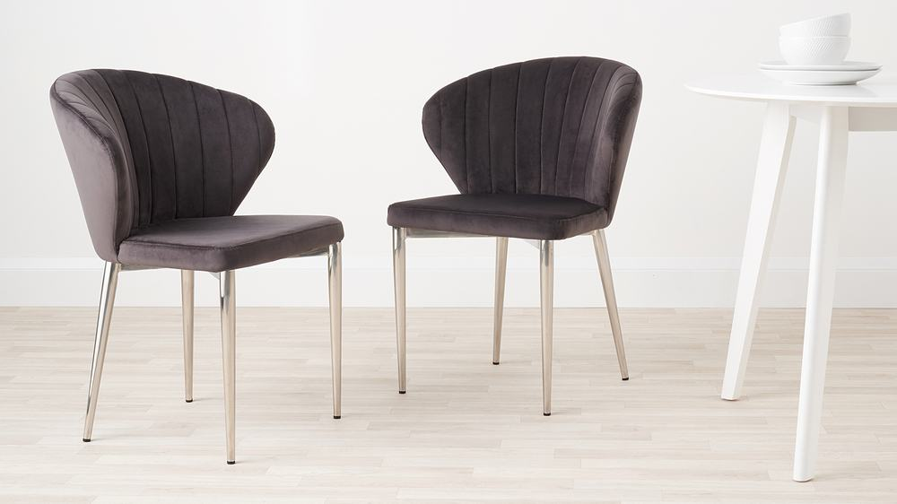 velvet and chrome dining chairs