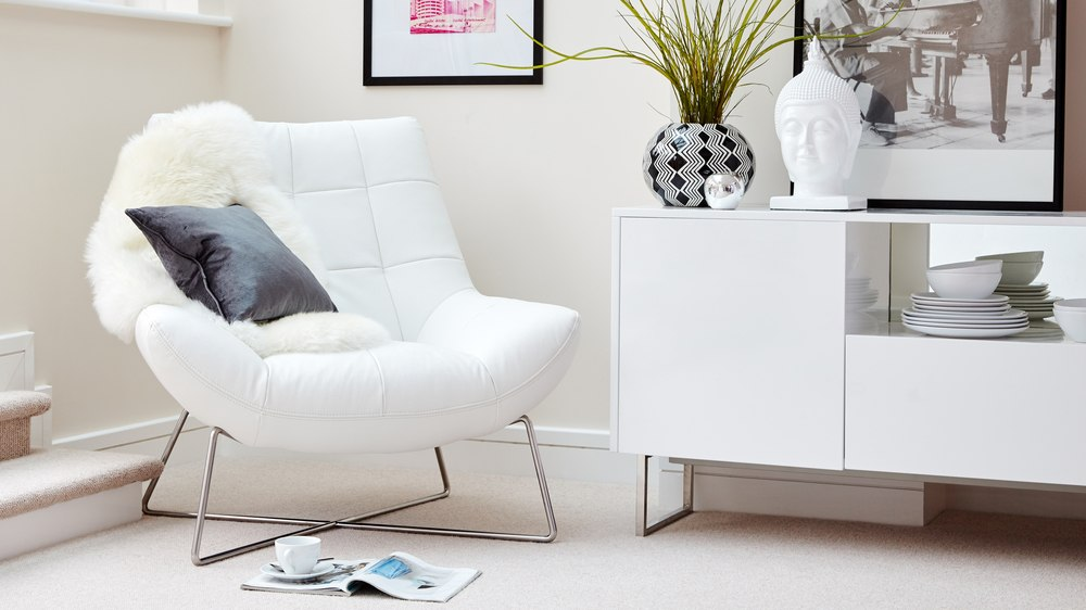 Canio Occasional White Leather Armchair | Danetti
