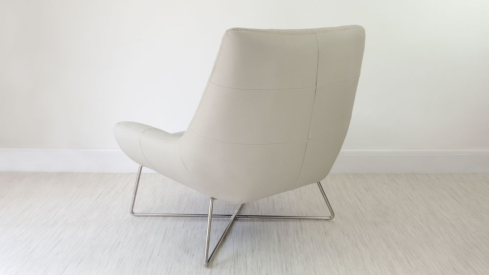 Stylish Faux Leather and Chrome Arm Chair