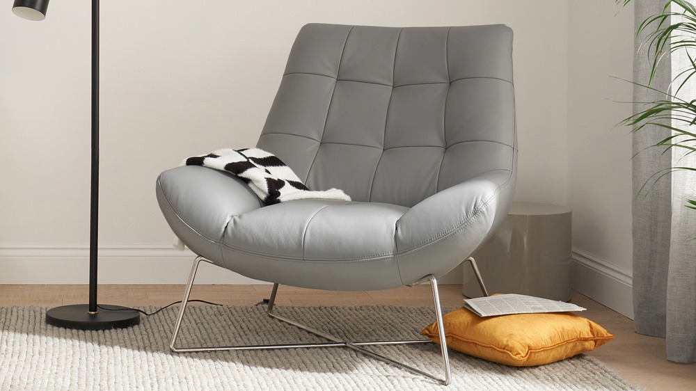 Dark Occasional Chair with Chrome Legs