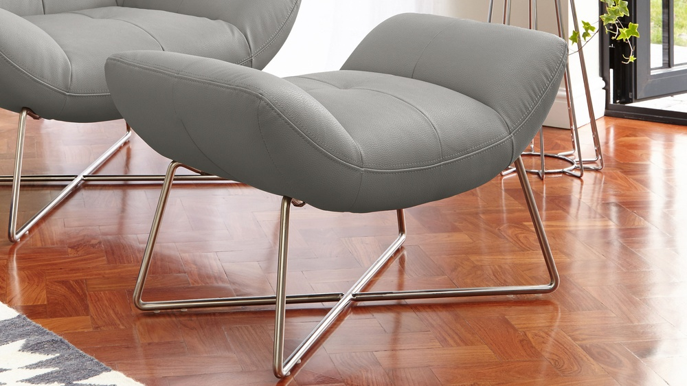 grey leather foot stool