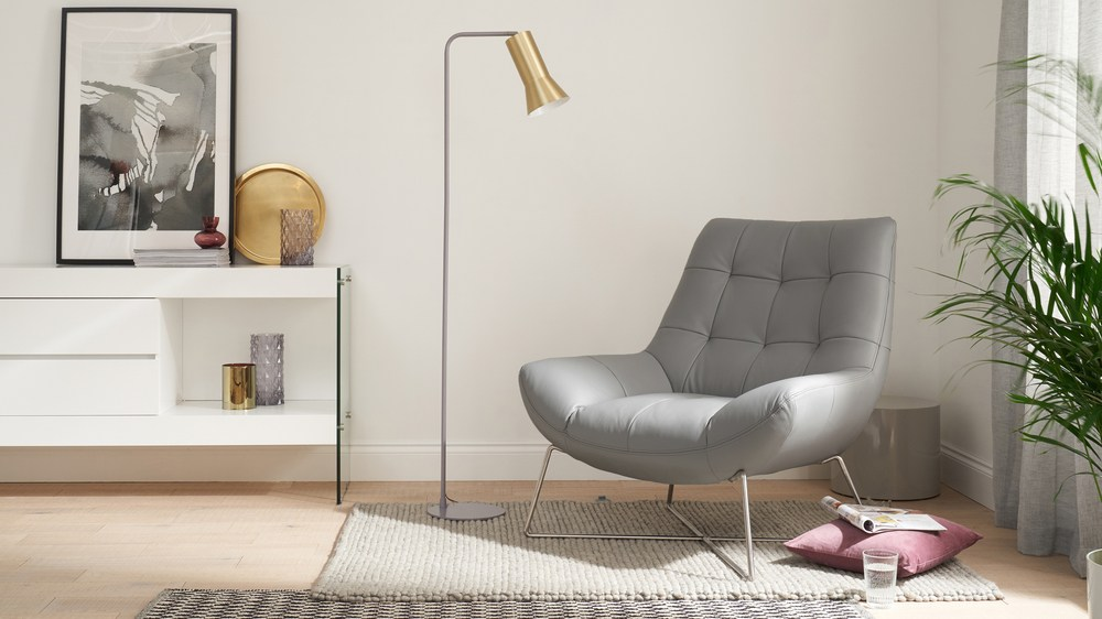 Canio Soft Grey Faux Leather Occasional Chair Danetti