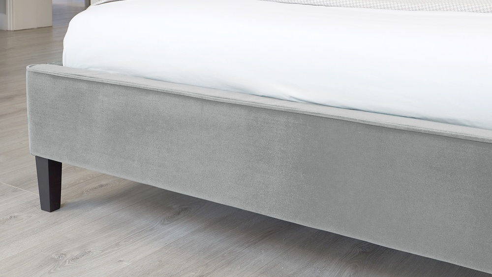 simple grey velvet bed