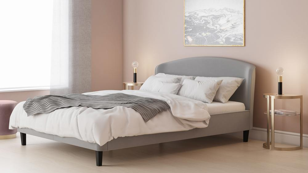 grey king size velvet bed