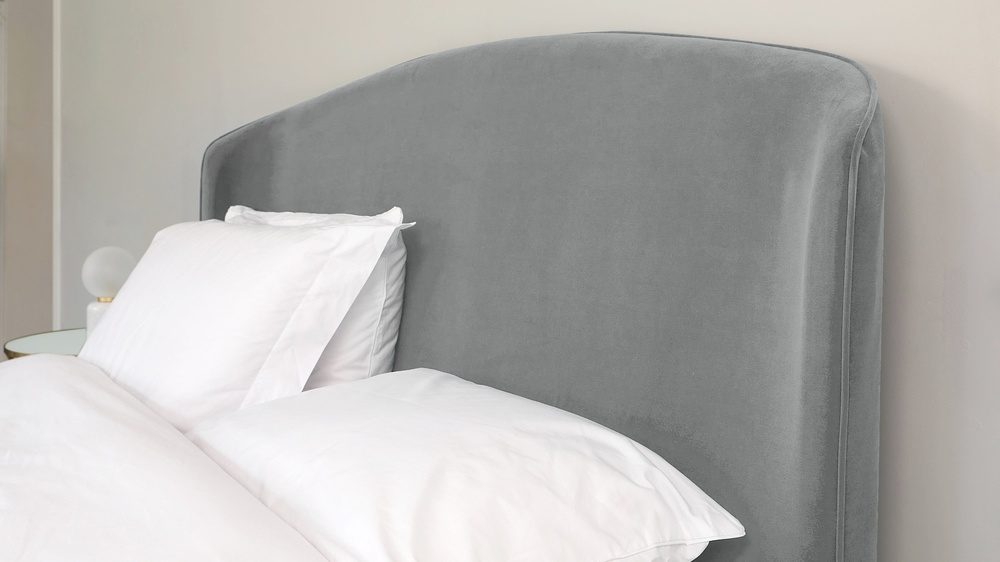 grey velvet king size bed
