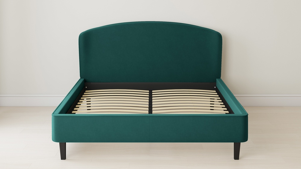 teal velvet simple upholstered bed