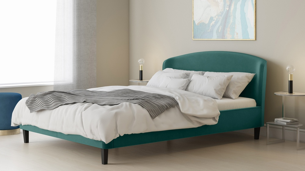 teal king size velvet bed
