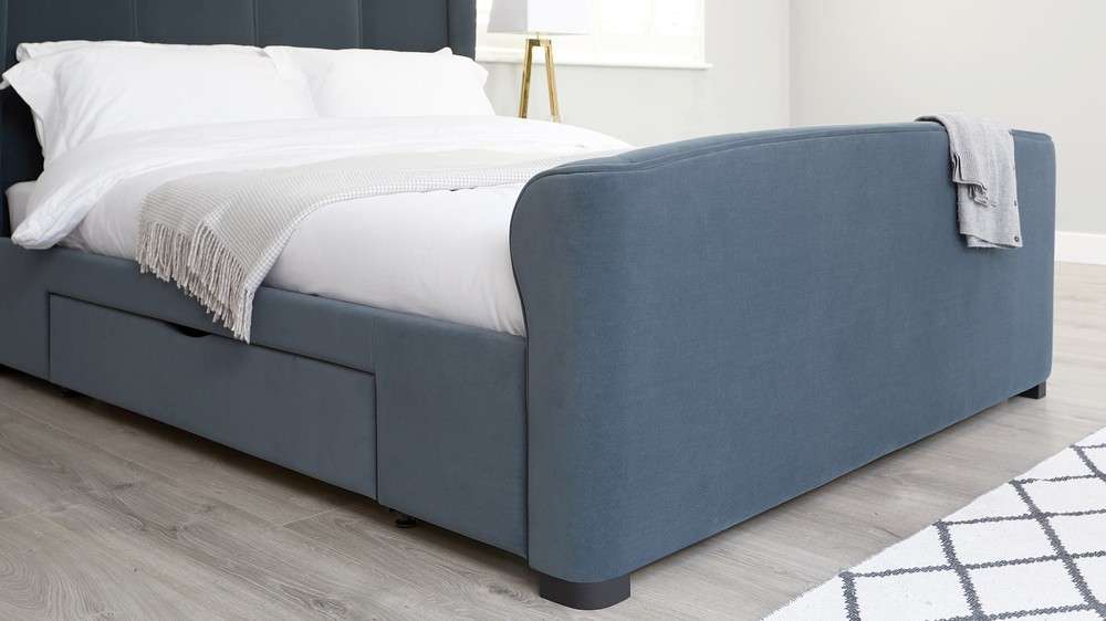 Carlito Pewter Velvet King Size Bed With Drawers Uk