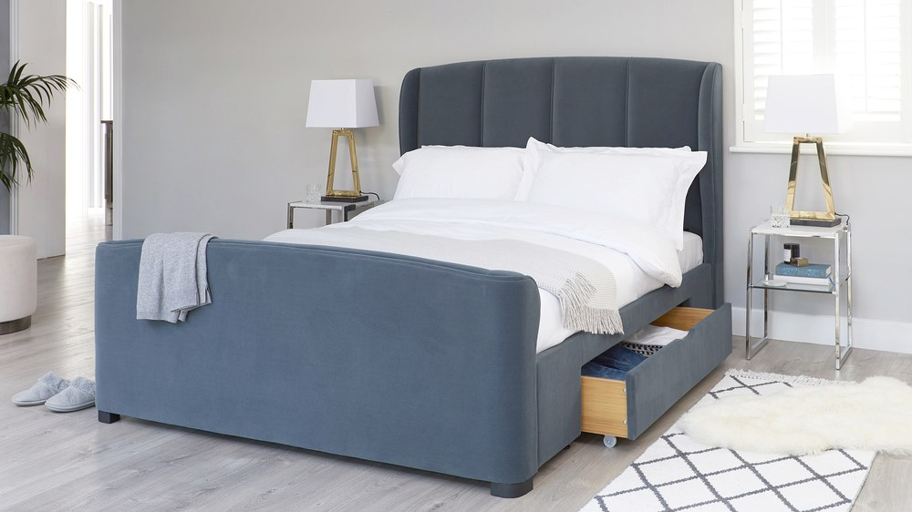 88caa9704c5f Carlito Pewter Velvet King Size Bed with Drawers | UK