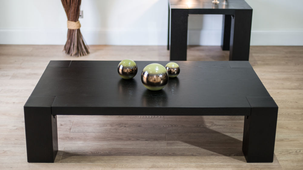 chunky rectangular black ash coffee table matching dining and lamp table. Black Bedroom Furniture Sets. Home Design Ideas