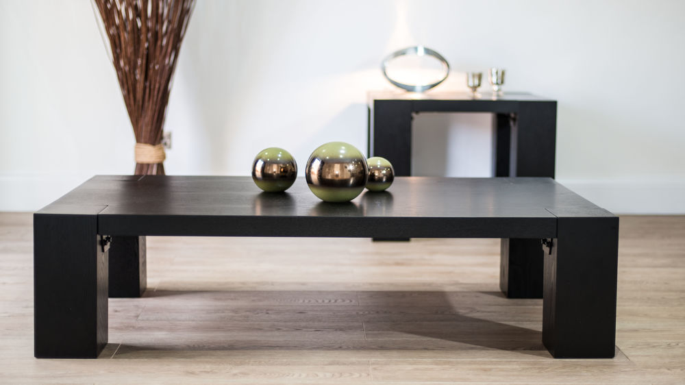 Chunky Rectangular Black Ash Coffee Table Matching Dining And Lamp Table