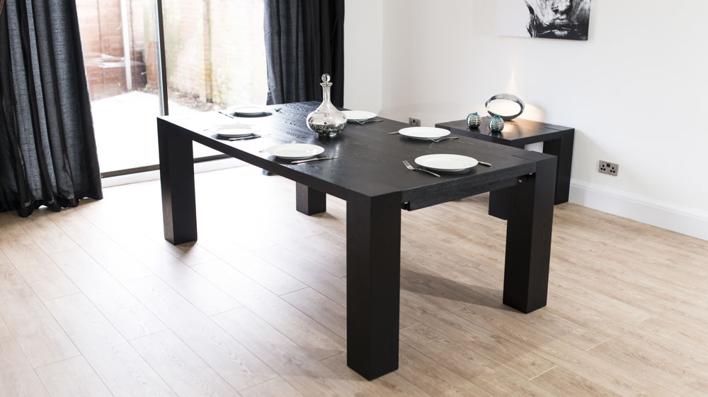 Black Extendable Dining Table black ash extending dining table. modern large extending black ash