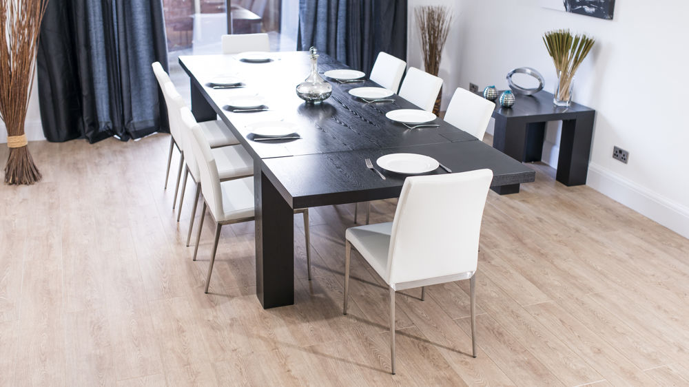 Large Extending Black Wood Dining Table And White Dining Chairs
