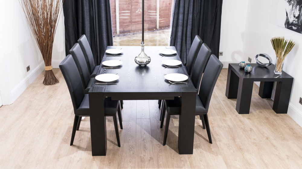 Black Extendable Dining Table stylish large black ash wood extending dining set | real leather