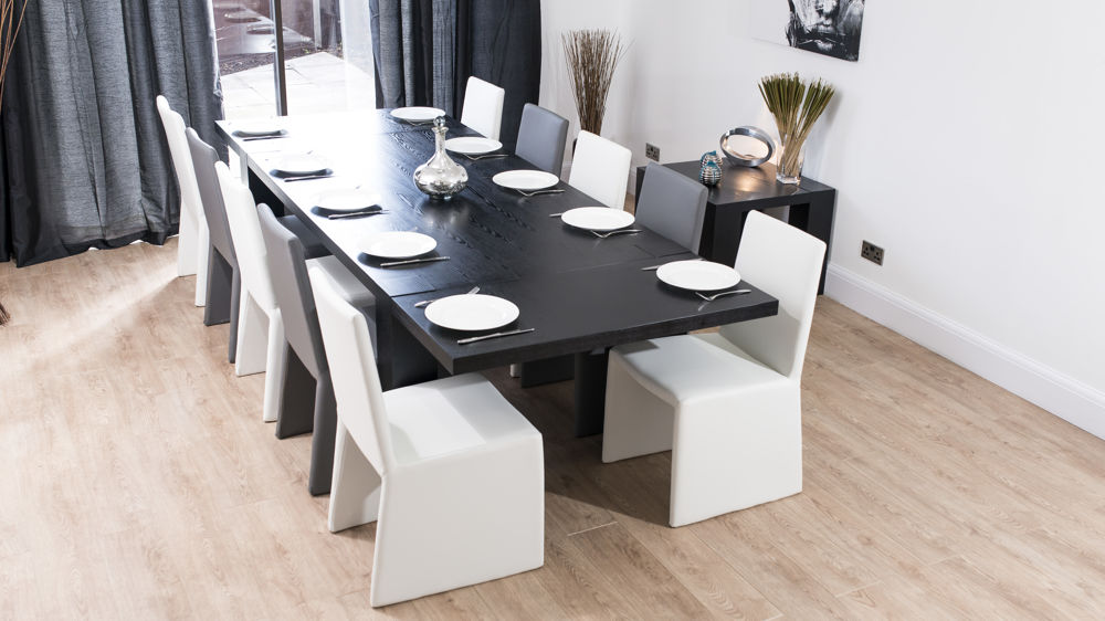 Black Extendable Dining Table modern large extending black ash dining table | chunky legs | seats 14