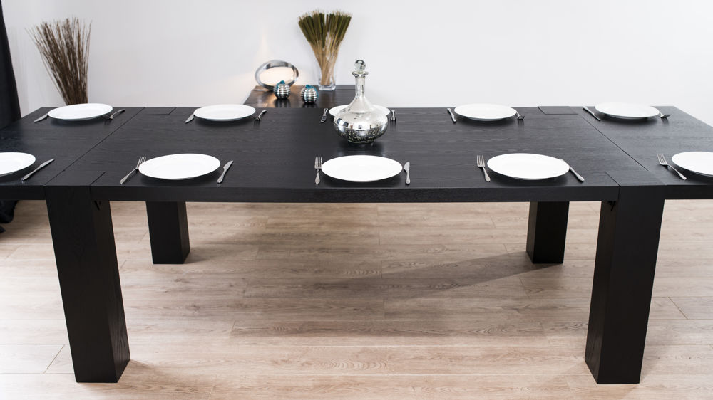 Modern Large Extending Black Ash Dining Table Chunky  : carlo large black ash extending dining table 8 from www.danetti.com size 1000 x 562 jpeg 66kB