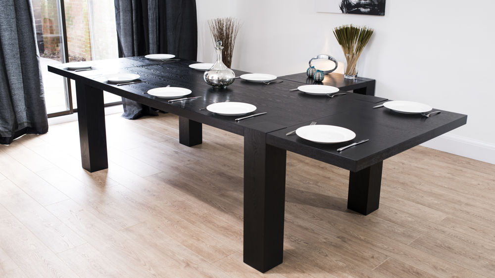 Modern large extending black ash dining table chunky for Large dark wood dining table