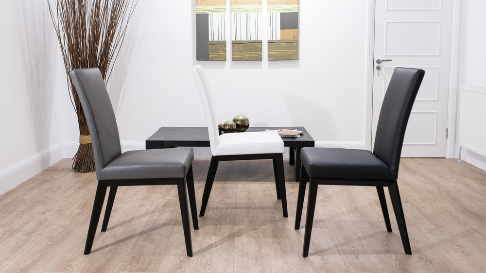 Real Leather Dining Chairs with Black Legs