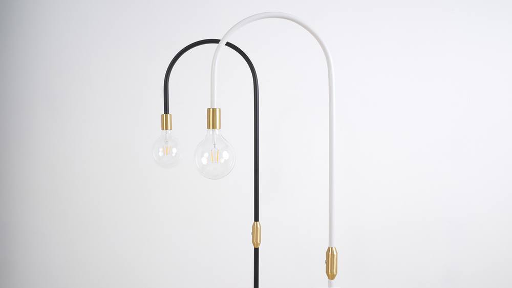 black and brass lamp