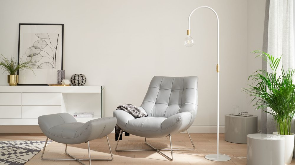 Curved modern white and brass floor lamp