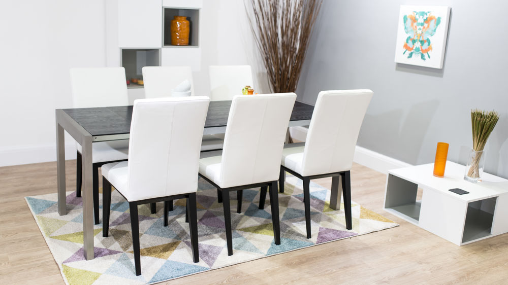 Carlo Dining Room Set Black Ash Extending Dining Table Modern Leather Chairs