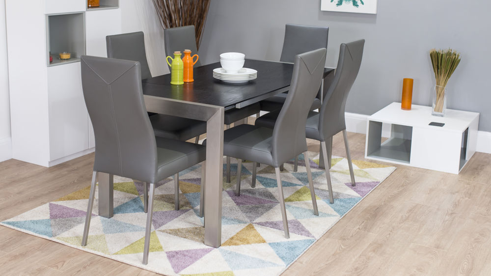 Black Ash Extending Table and Real Leather Chairs | Seats 4 - 8 People