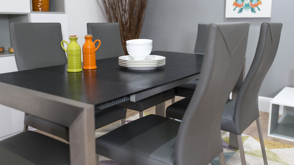 High Quality Black Wood And Grey Real Leather Dining Chairs