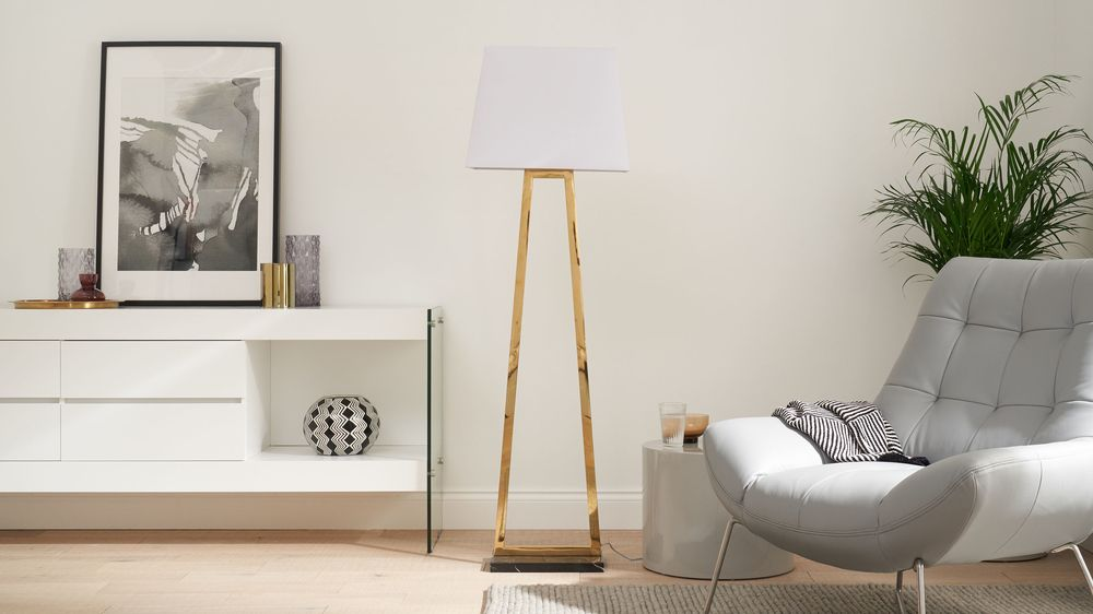 Casa marble and brass floor lamp