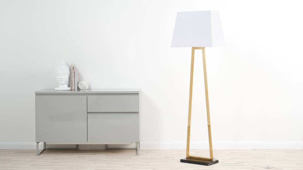 Gold and marble large floor lamp