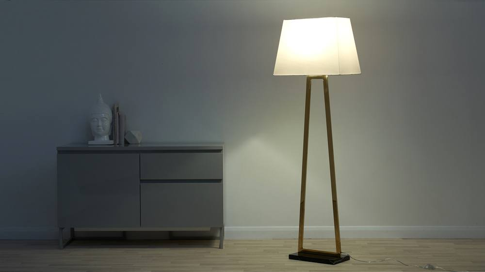 Gold and black marble floor lamp