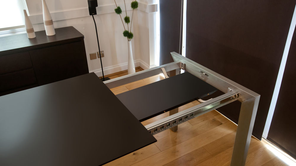 Matt Black Easy Extending Dining Table with Leaf Storage