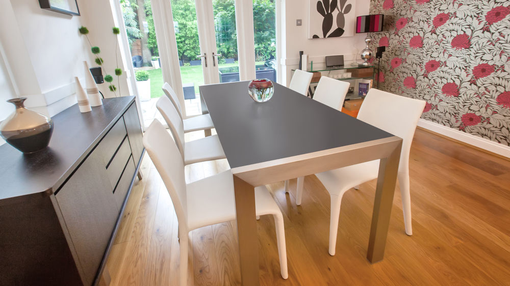 Modern Matt Black and White Faux Leather Dining Set