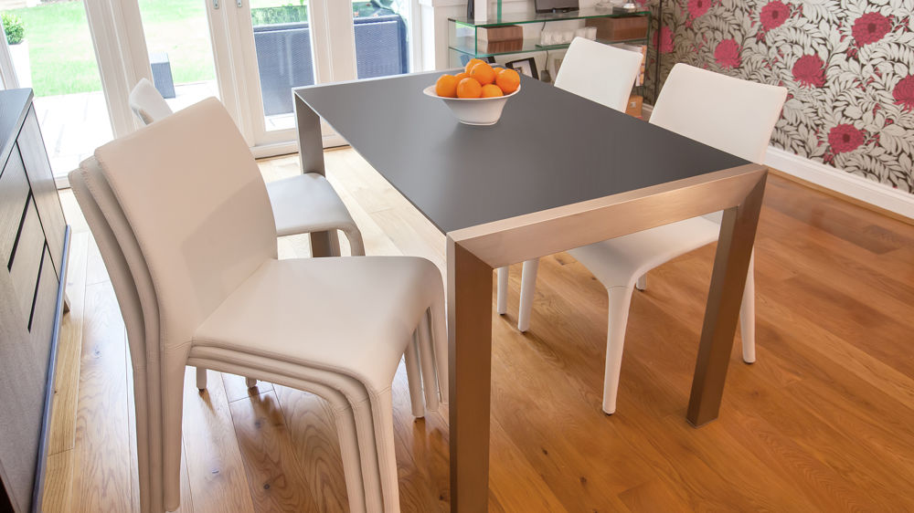 Stackable Dining Chairs and Extending Matt Black Dining Table