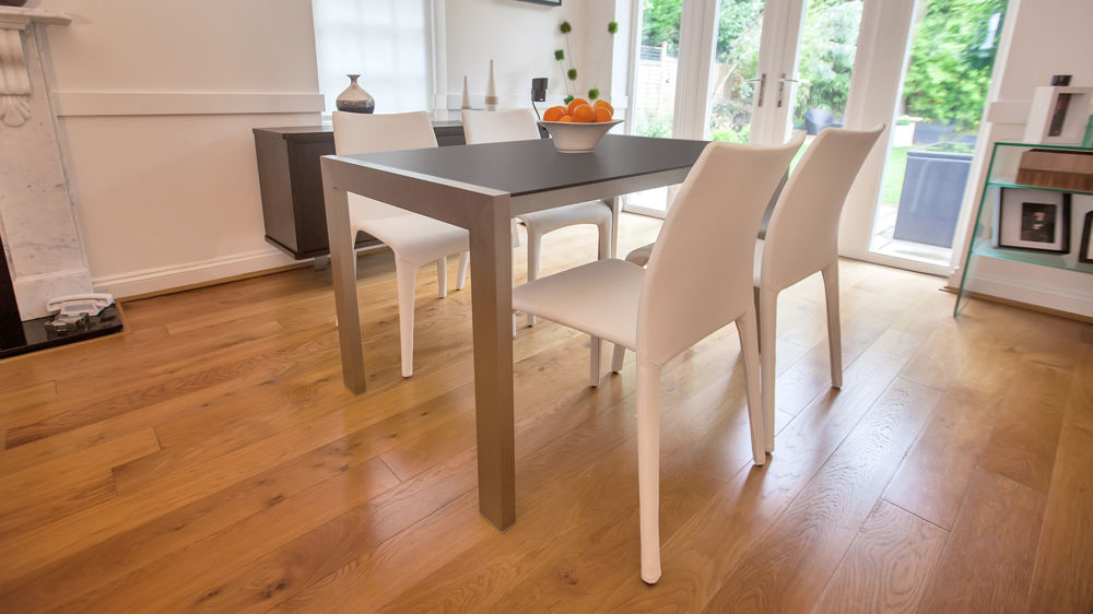 Contemporary Black Dining Table and White Dining Chairs