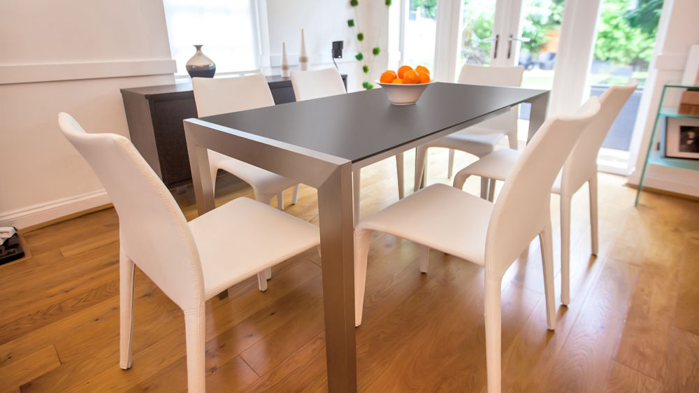 Brushed Metal Legged Extending Dining Table. Contemporary Black And White  Extending Dining Set UK