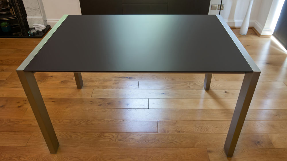 Modern Matt Black Extending Dining Table Brushed Metal