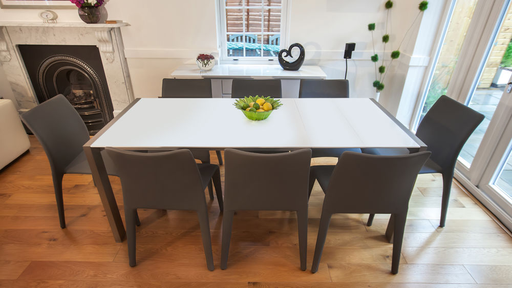 Contemporary White Extending Dining Table and Grey Dining Chairs