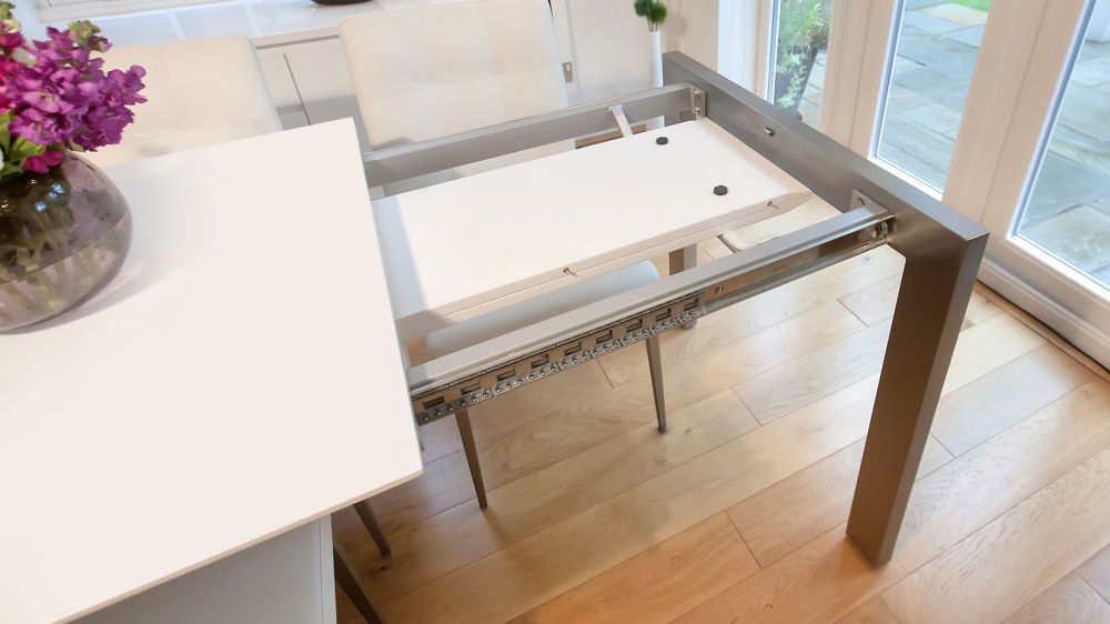 White Dining Table with Leaf Storage