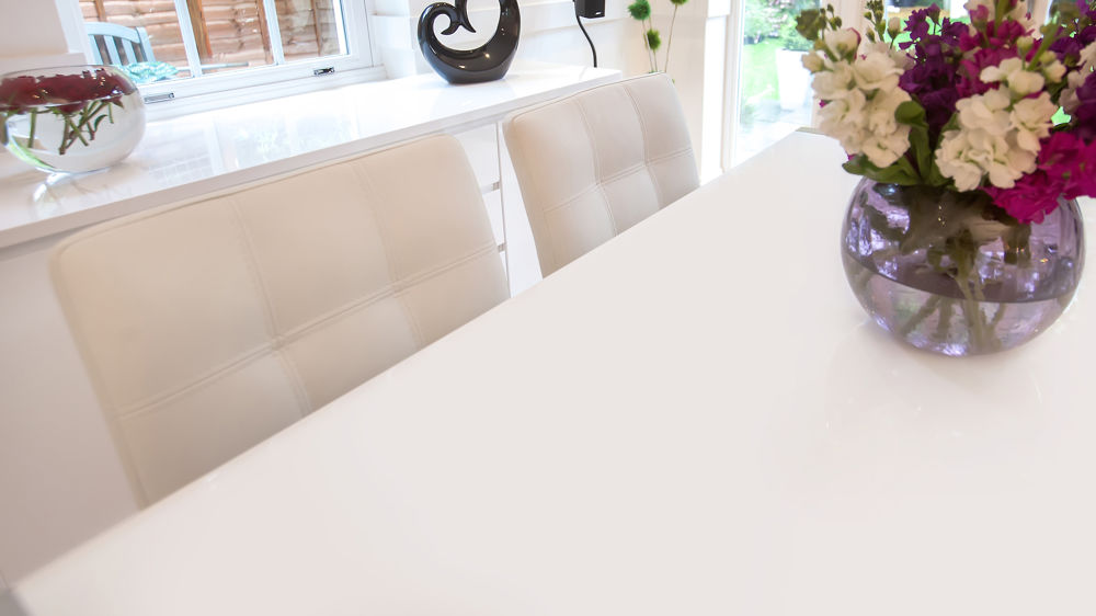 Easy Clean White Extending Dining Table
