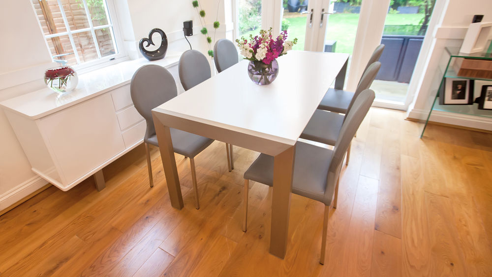 Matt White Extending Dining Table Brushed Metal Legs Seats 8