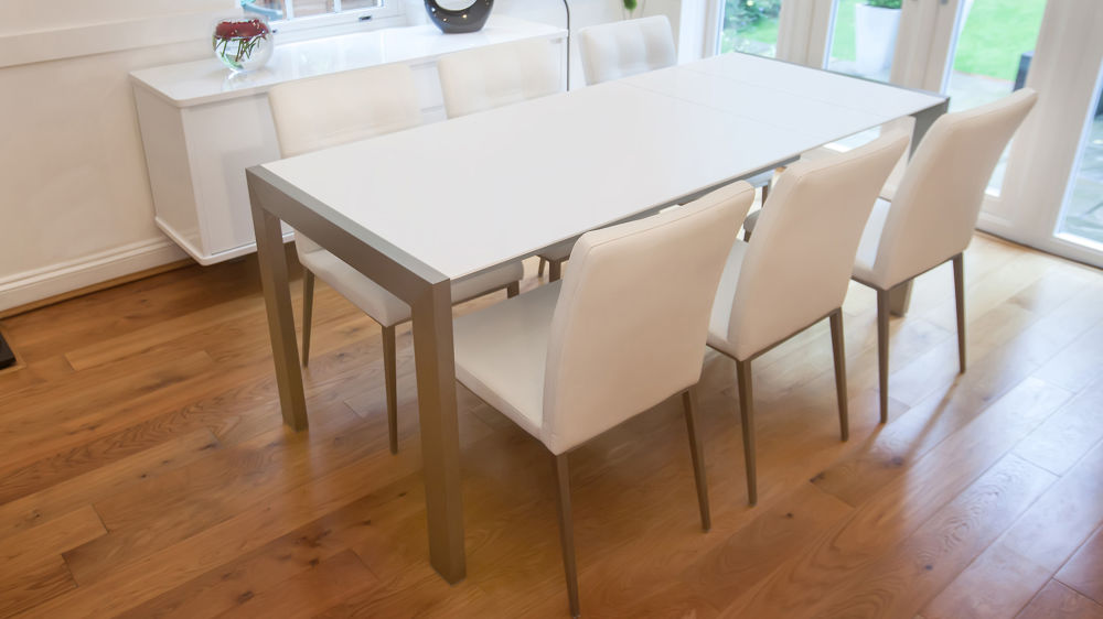 Matt white extending dining table brushed metal legs seats 8 satin finish - White extending dining tables ...