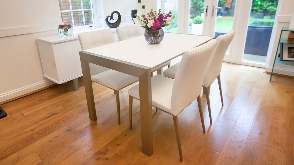 Matt White Extending Dining Table
