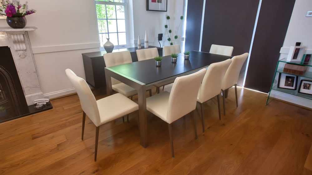 White Faux Leather and Large Dark Wood Extending Dining Table