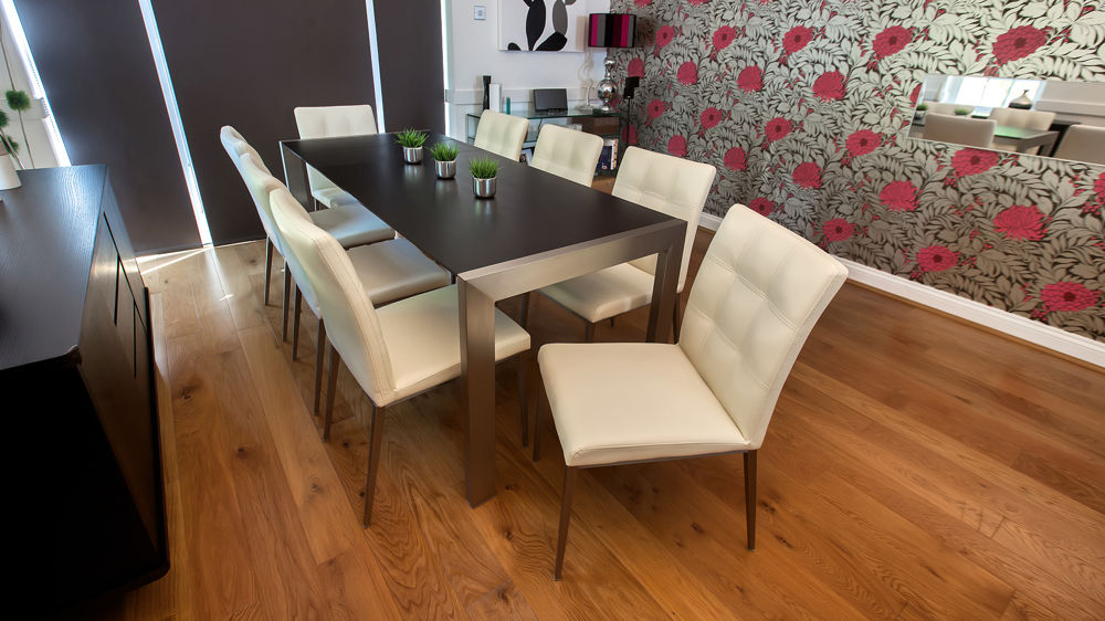 4 8 Seater Dark Wood Dining Table And Quilted Chairs