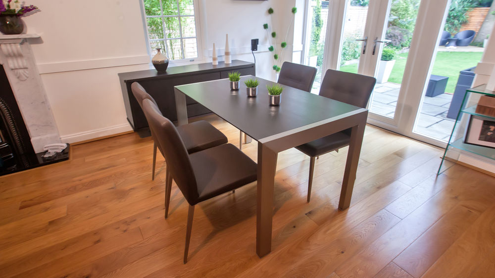 Modern Dark Wood Dining Table and Brown Dining Chairs